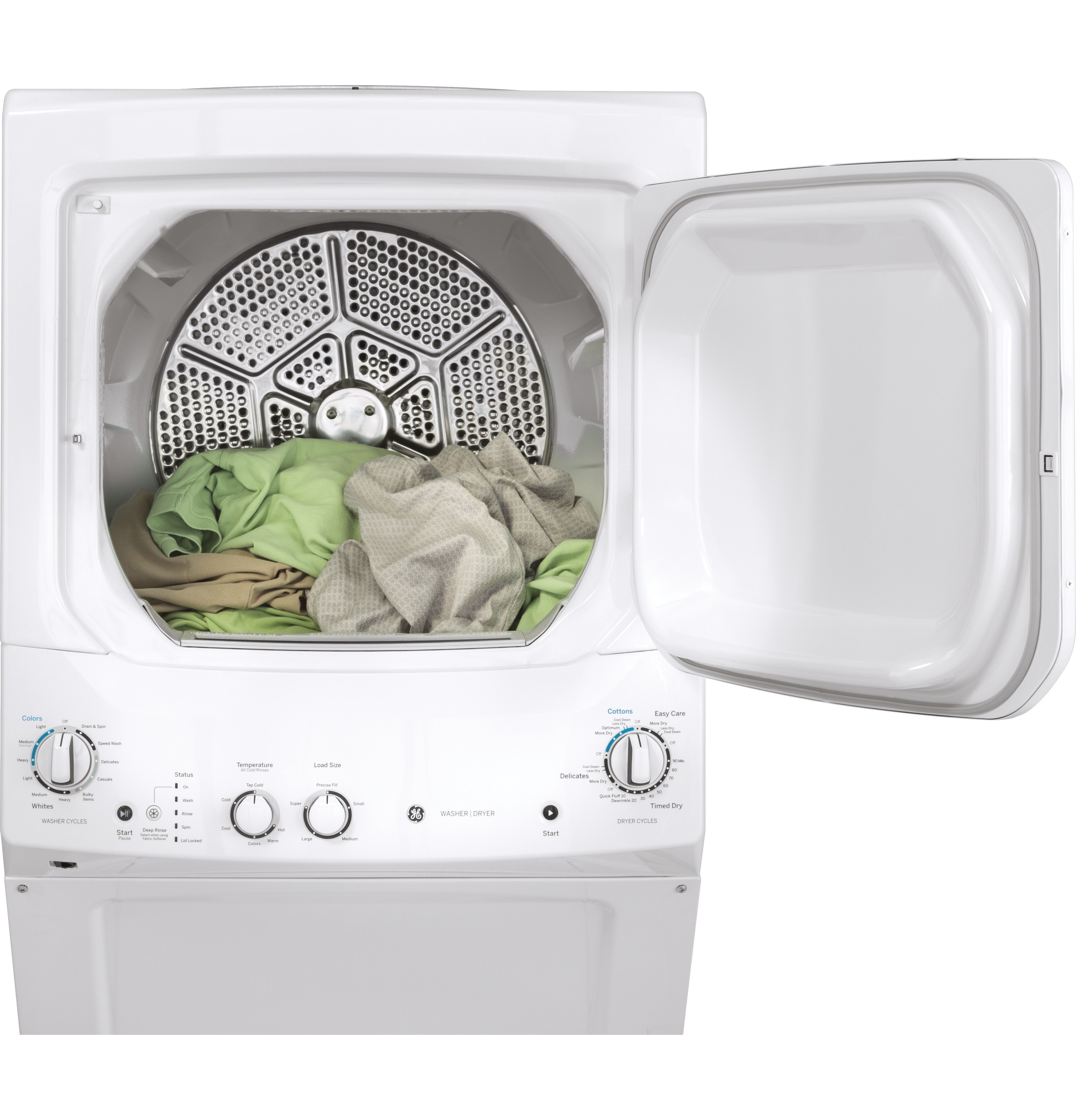 Model: GUV27ESSMWW | GE Unitized Spacemaker® 3.8 cu. ft. Capacity Washer with Stainless Steel Basket and 5.9 cu. ft. Capacity Long Vent Electric Dryer