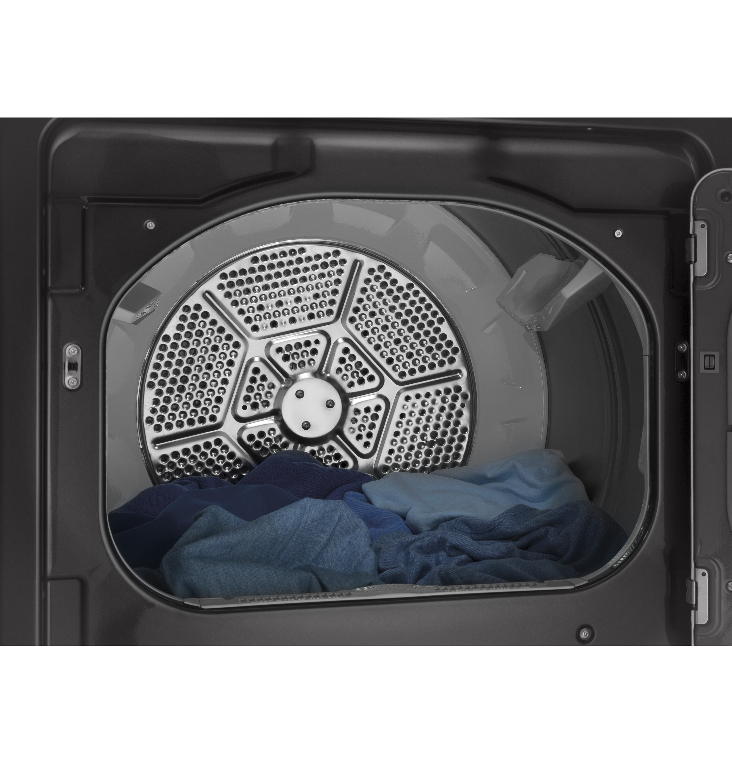 Model: GTD65EBPLDG | GE® 7.4 cu. ft. Capacity aluminized alloy drum Electric Dryer with HE Sensor Dry