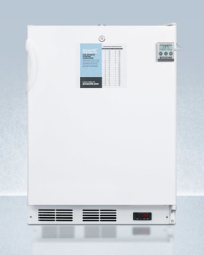 Summit ADA compliant 24' wide auto defrost all-refrigerator for built-in use, commercially approved with a traceable thermometer, internal fan, and front lock