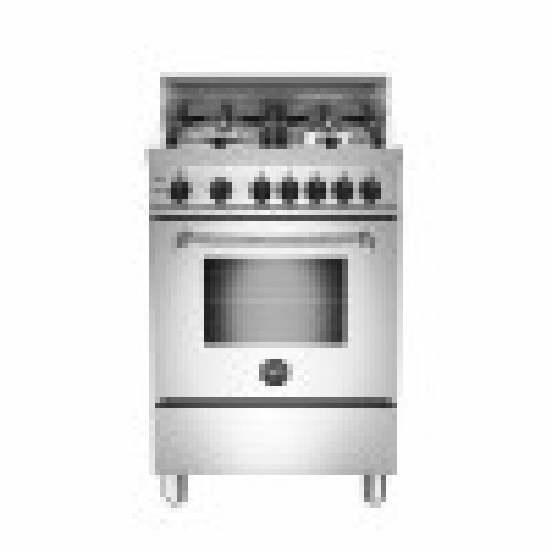 "Model: MAS244GASXELP | Bertazzoni 24"" Master Series range 4 aluminum burners Black Knobs All Gas Stainless Steel LP"