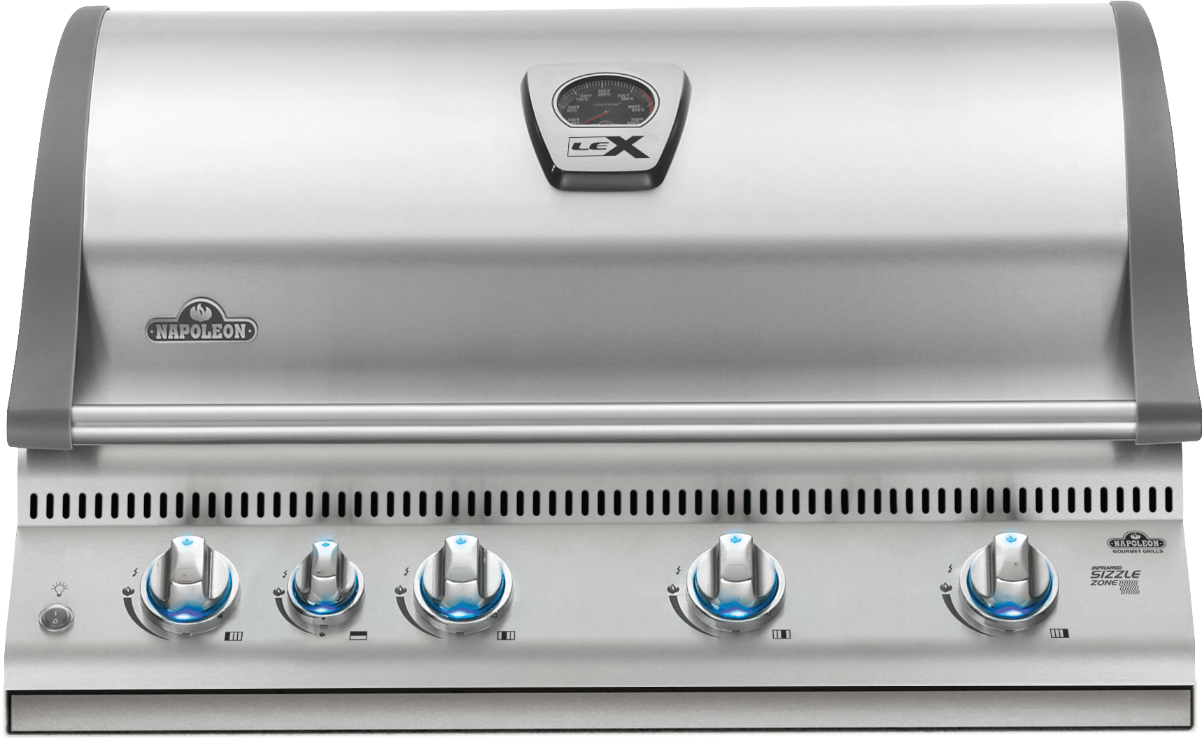 Built-in LEX 605 Propane Gas Grill Head with Infrared Bottom and Rear Burners, Stainless Steel
