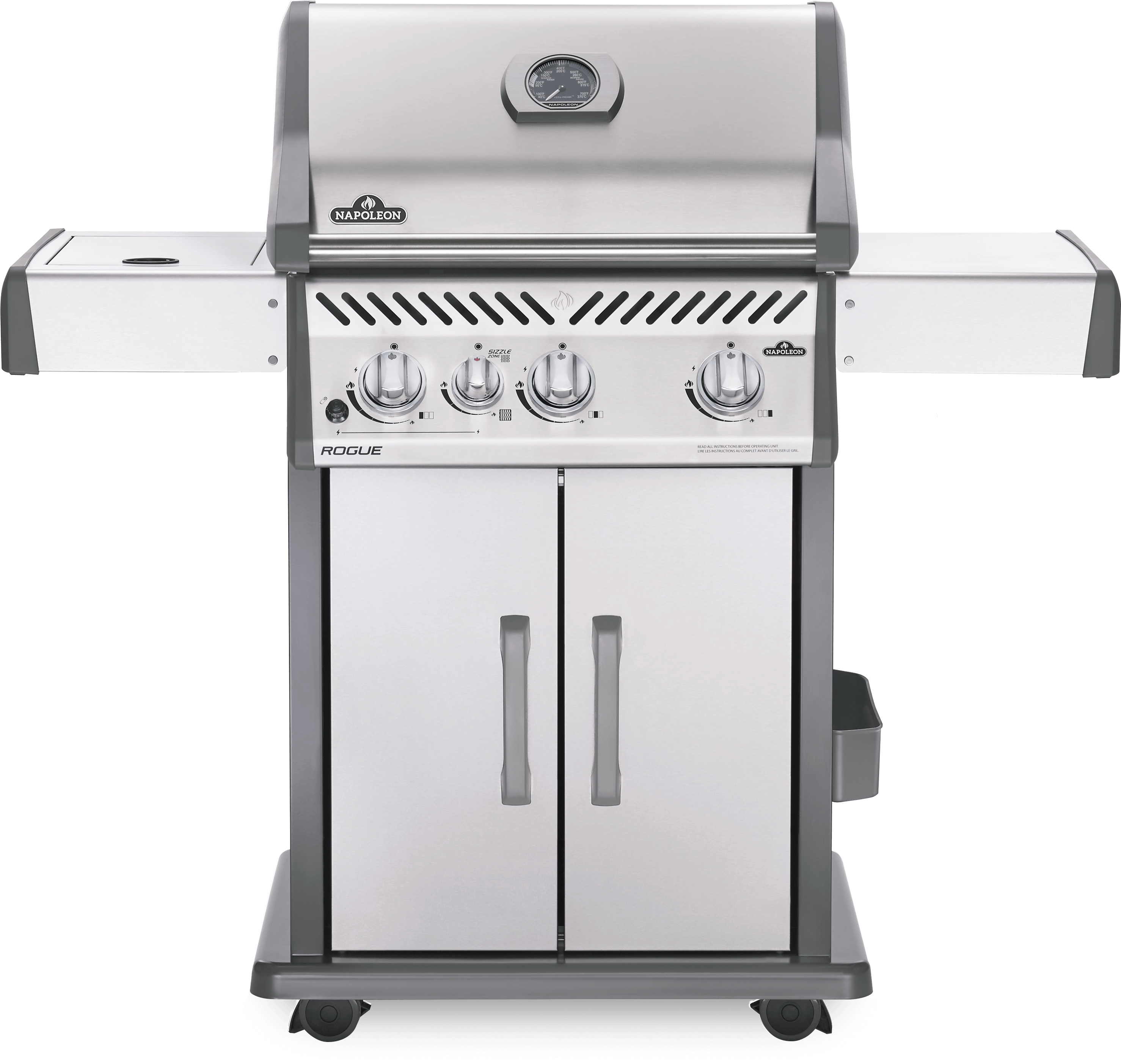 Napoleon Rogue® 425 Propane Gas Grill with Infrared Side Burner, Stainless Steel