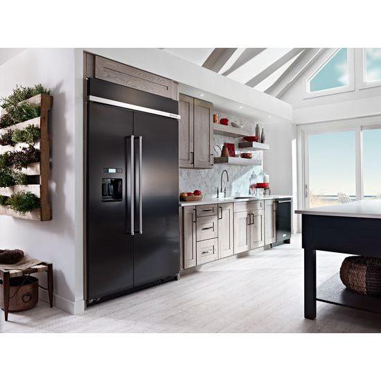 Model: KBSD608EBS   29.5 cu. ft 48-Inch Width Built-In Side by Side Refrigerator with PrintShield™ Finish