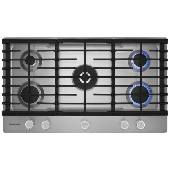 Model: KCGS556ESS | 36'' 5-Burner Gas Cooktop