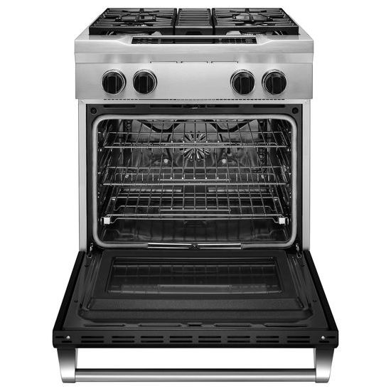 Model: KDRS407VBK | 30'' 4-Burner Dual Fuel Freestanding Range, Commercial-Style