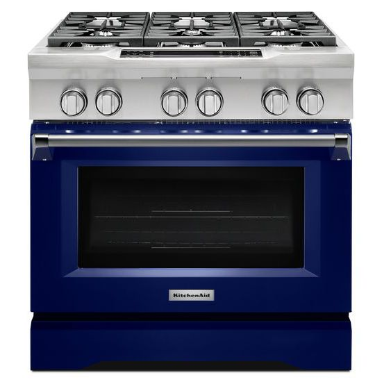 Model: KDRS467VBU | 36'' 6-Burner Dual Fuel Freestanding Range, Commercial-Style