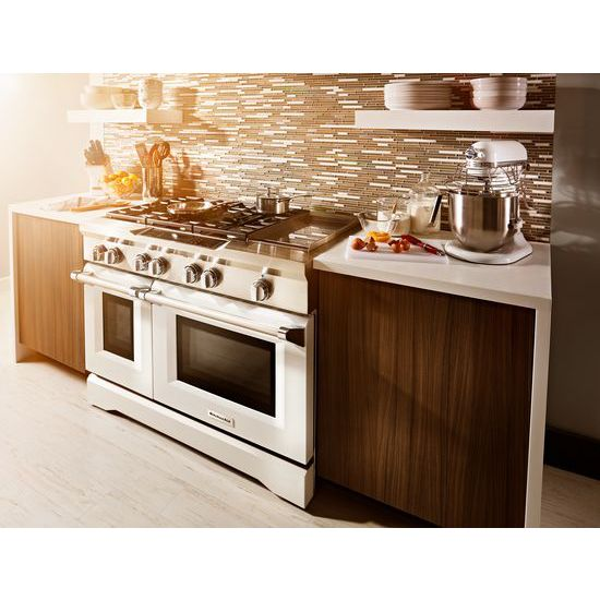 Model: KDRS483VMW | 48'' 6-Burner with Griddle, Dual Fuel Freestanding Range, Commercial-Style