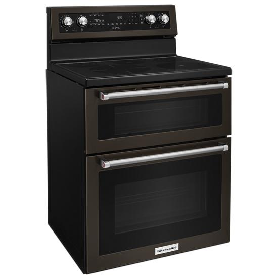 Model: KFED500EBS | 30-Inch 5 Burner Electric Double Oven Convection Range