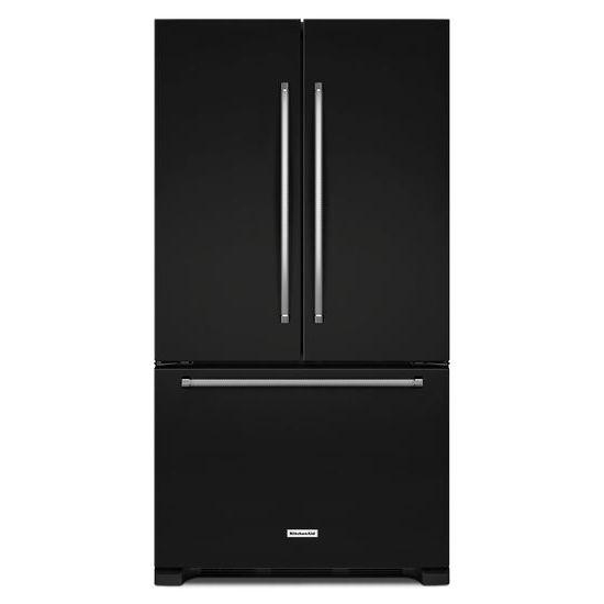 Model: KRFF305EBL   25 Cu. Ft. 36-Width Standard Depth French Door Refrigerator with Interior Dispense