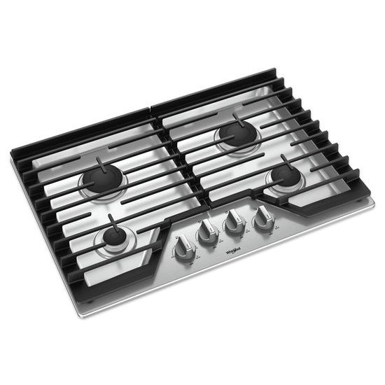 Model: WCG55US0HS | Whirlpool 30-inch Gas Cooktop with EZ-2-Lift™ Hinged Cast-Iron Grates