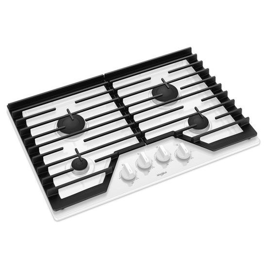 Model: WCG55US0HW | Whirlpool 30-inch Gas Cooktop with EZ-2-Lift™ Hinged Cast-Iron Grates