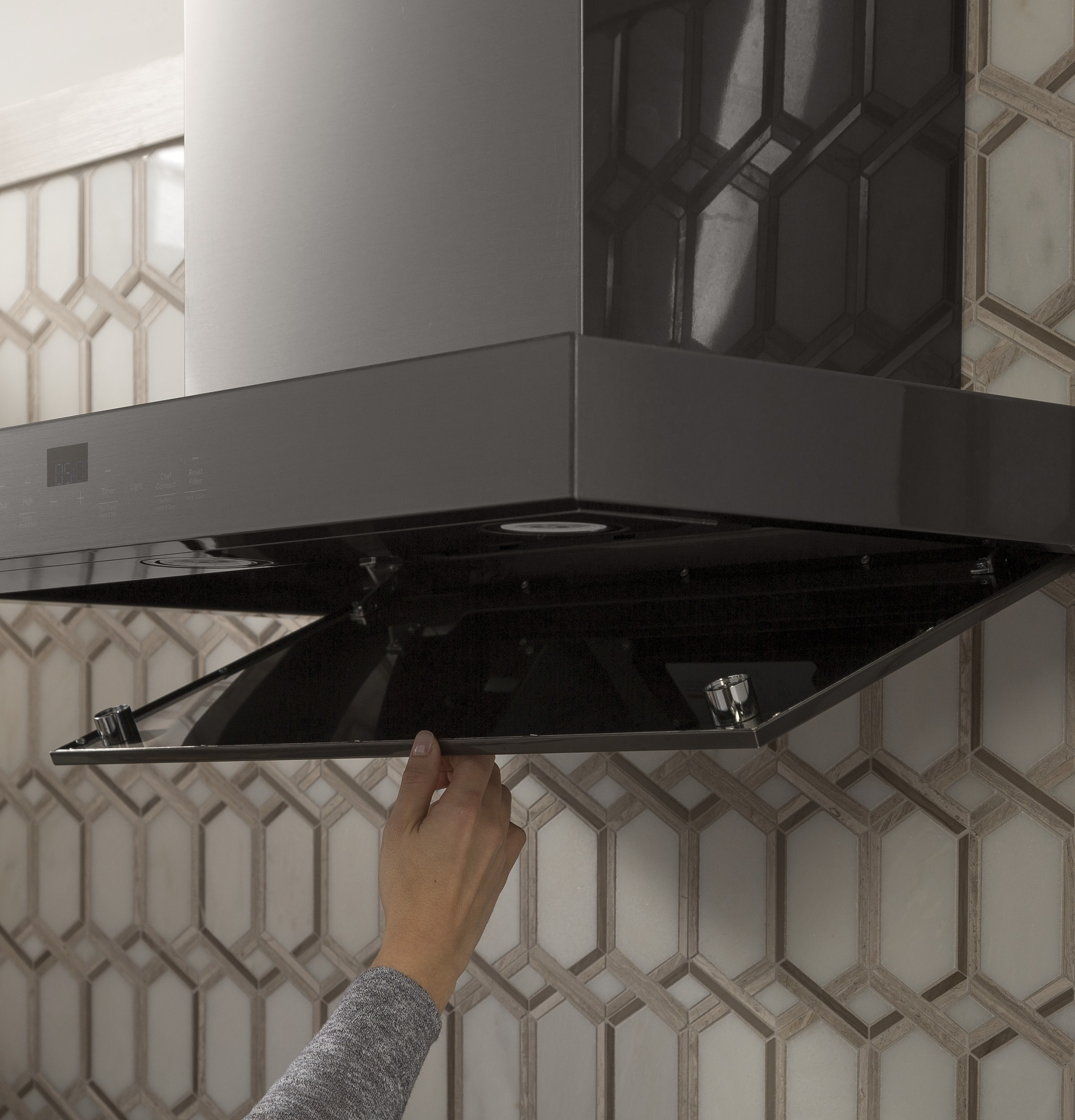 "Model: UVW9361BLTS | GE Profile 36"" WiFi Enabled Designer Wall Mount Hood w/ Perimeter Venting"
