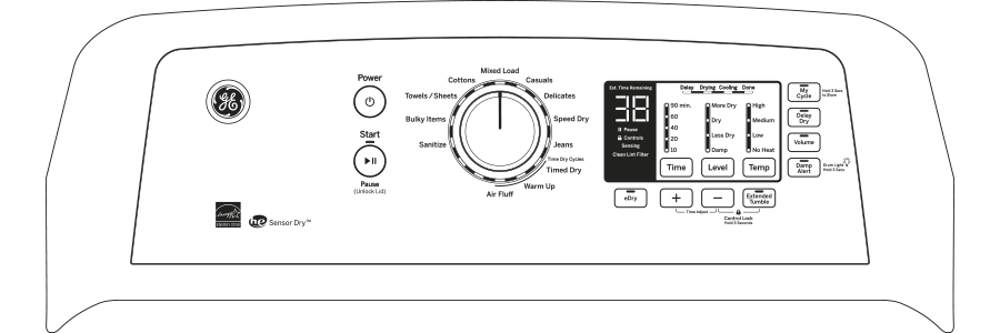 Model: GTD65GBSJWS | GE® 7.4 cu. ft. Capacity aluminized alloy drum Gas Dryer with HE Sensor Dry