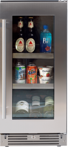 Undercounter Beverage Center with glass  door with stainless trim (Right Hinge)
