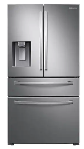 Model: RF22R7351SR | Samsung 22 cu. ft. 4-Door French Door, Counter Depth Refrigerator with Food Showcase