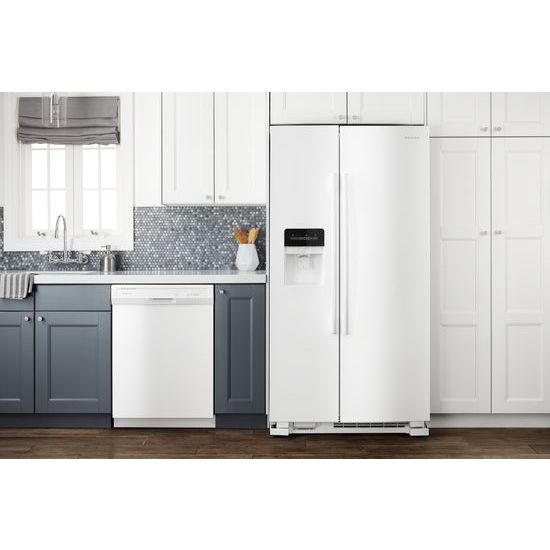 Model: ASI2175GRW | Amana 33-inch Side-by-Side Refrigerator with Dual Pad External Ice and Water Dispenser