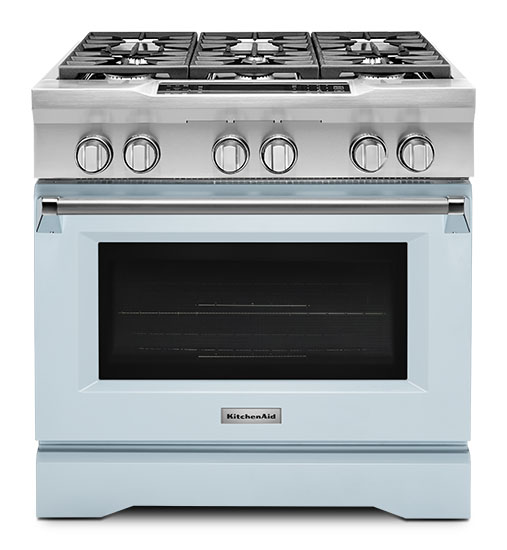 Model: KDRS467VMB | Limited Edition KitchenAid® 36'' 6-Burner Dual Fuel Freestanding Range, Commercial-Style