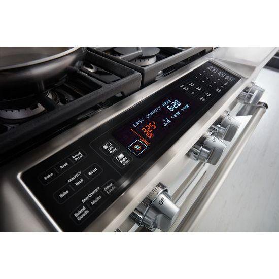 Model: KDRS483VMW | 48'' 6-Burner with Griddle, Dual Fuel Freestanding Range, Commercial-Style