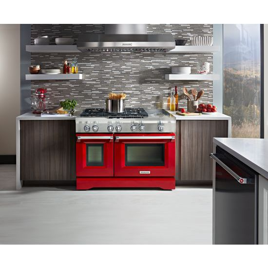 Model: KDRS483VSD | 48'' 6-Burner with Griddle, Dual Fuel Freestanding Range, Commercial-Style