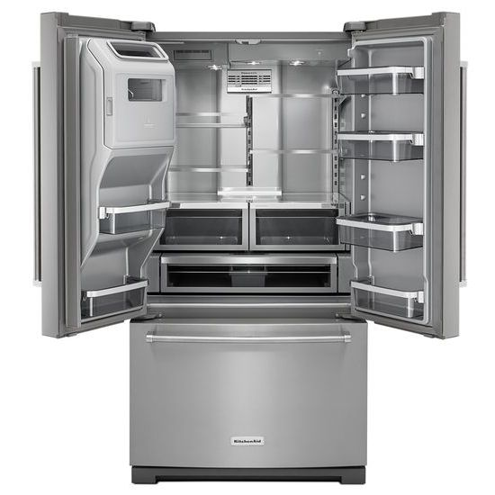 Model: KRFF707ESS | 26.8 cu. ft. 36-Inch Width Standard Depth French Door Refrigerator with Exterior Ice and Water Platinum Interior