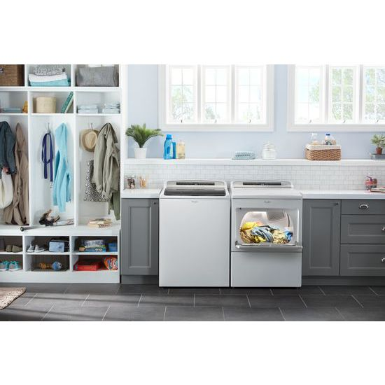 Model: WED7500GW | 7.4 cu. ft. Top Load Electric Dryer with AccuDry™ Sensor Drying Technology