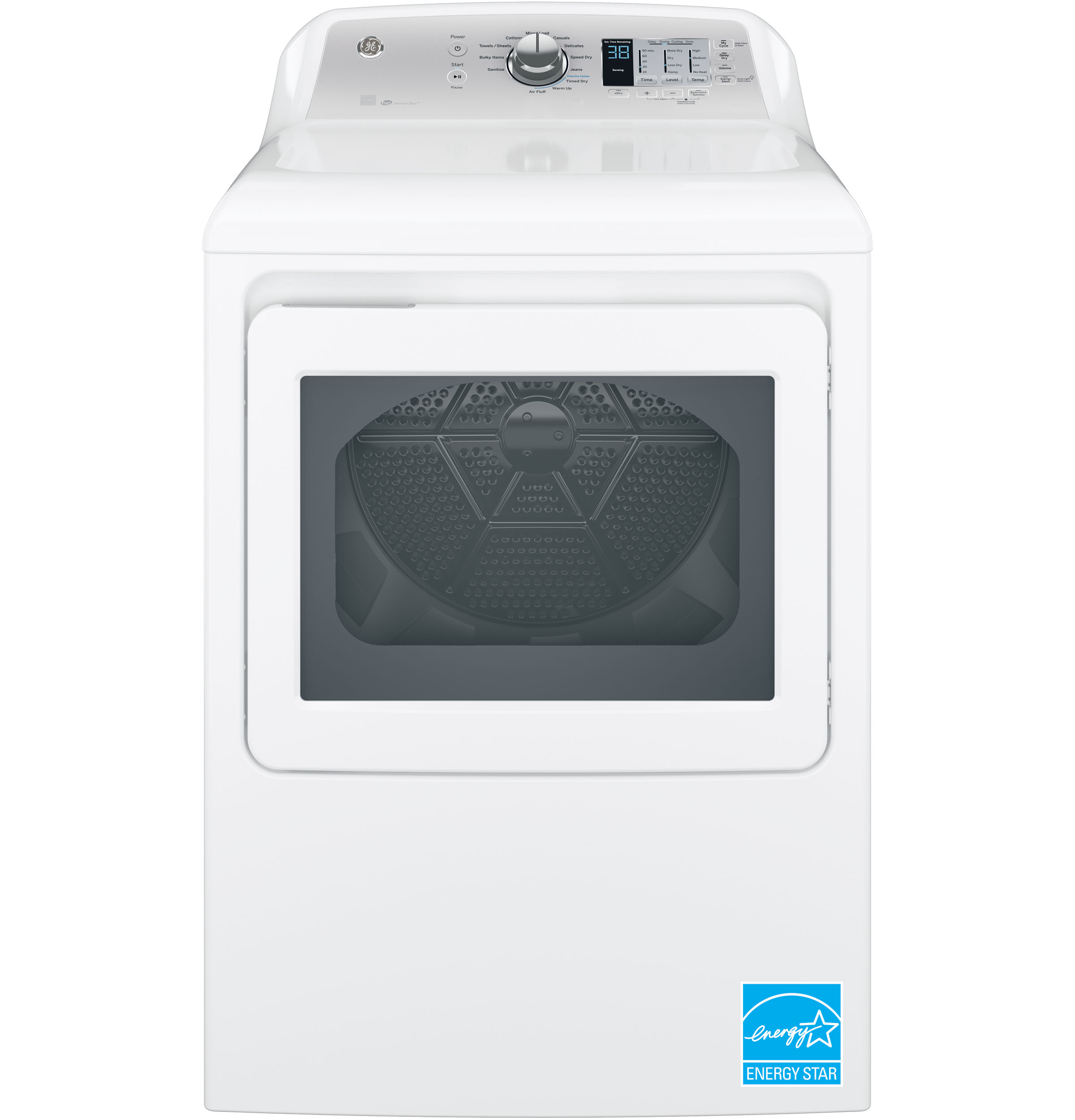 Model: GTD65EBSJWS | GE® 7.4 cu. ft. Capacity aluminized alloy drum Electric Dryer with HE Sensor Dry