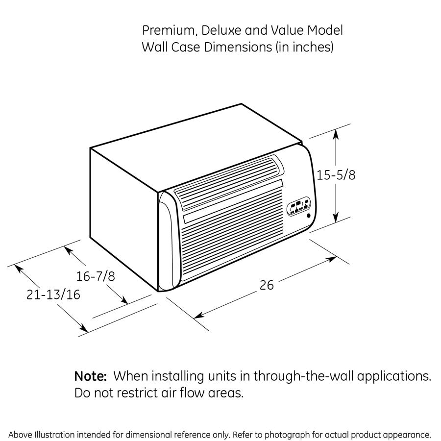 Model: AJEM12DCF   GE® 230/208 Volt Built-In Heat/Cool Room Air Conditioner