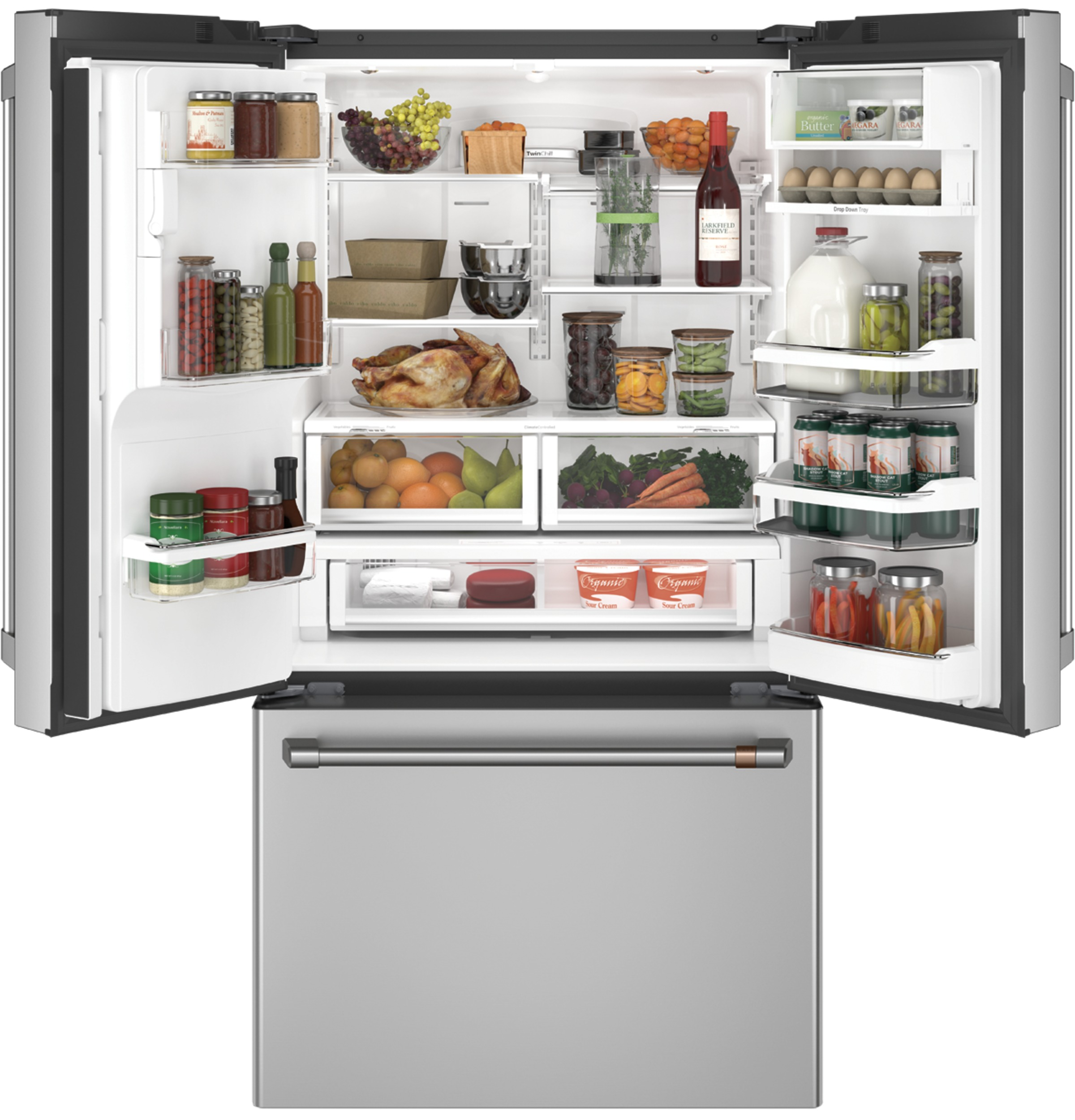 Model: CYE22TP2MS1 | Café™ ENERGY STAR® 22.2 Cu. Ft. Counter-Depth French-Door Refrigerator with Hot Water Dispenser