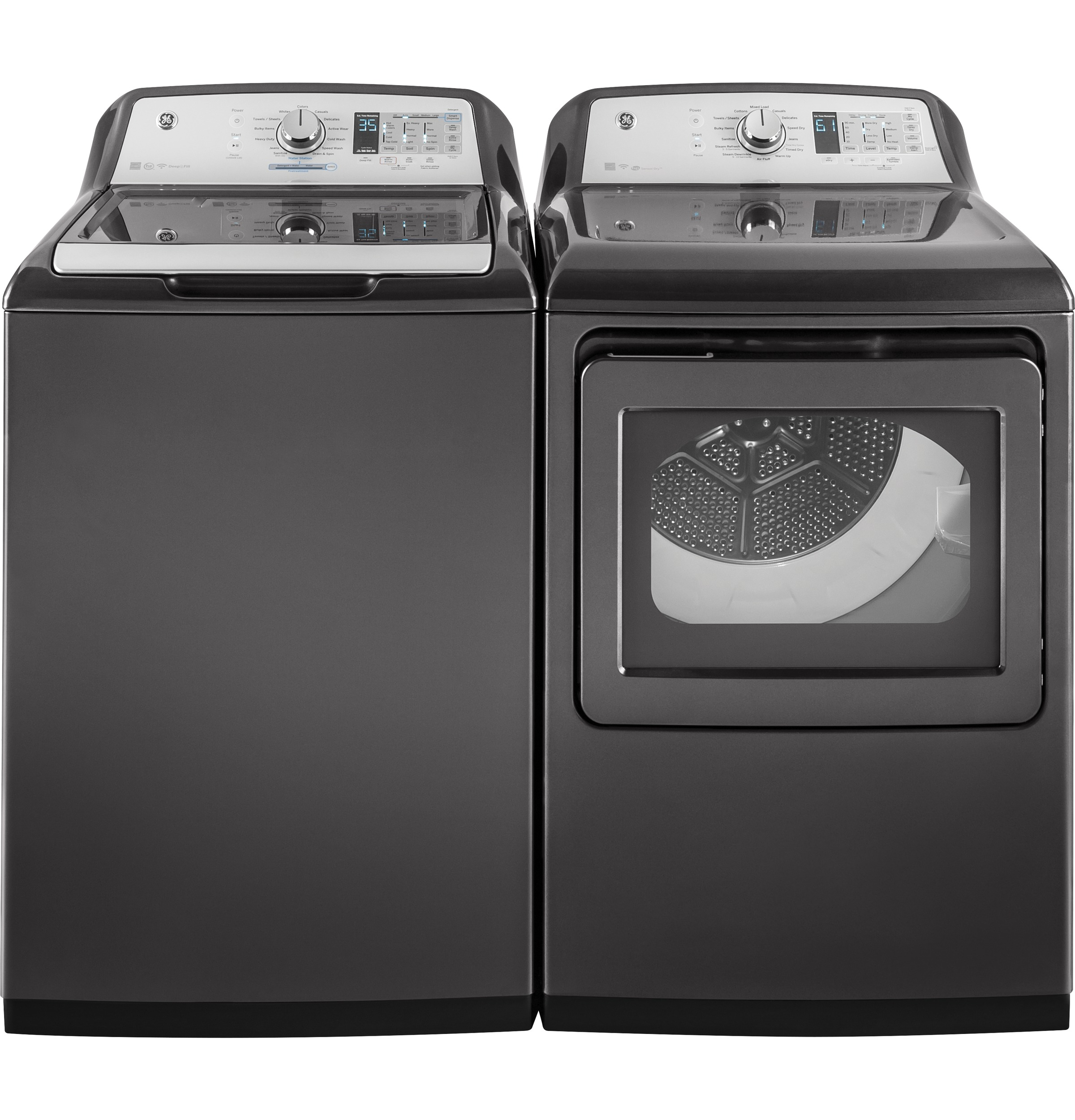 Model: GTW750CPLDG | GE® 5.0  cu. ft. Capacity Washer with Stainless Steel Basket