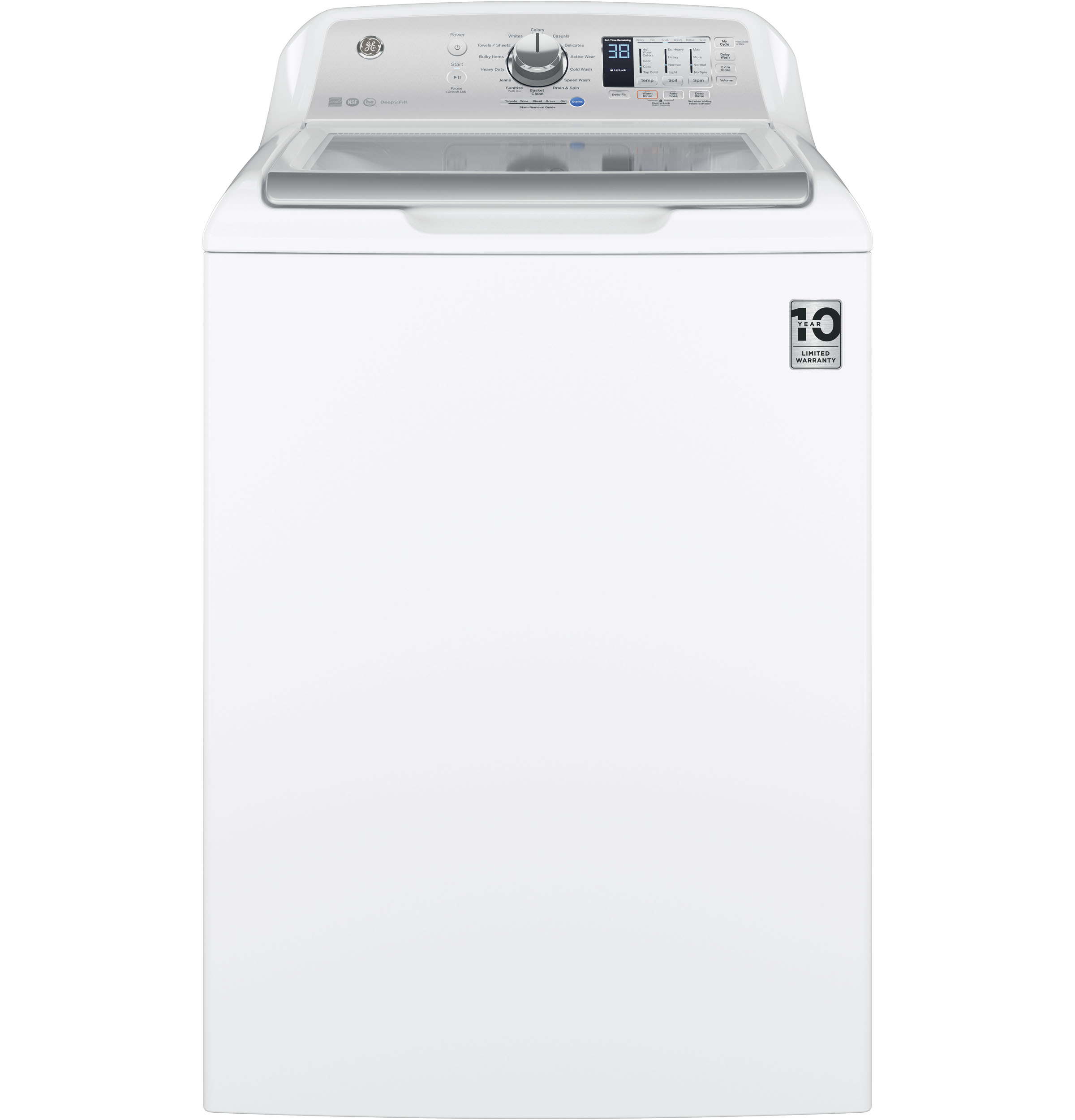 Model: GTW680BSJWS | GE® 4.6  cu. ft. Capacity  Washer with Stainless Steel Basket