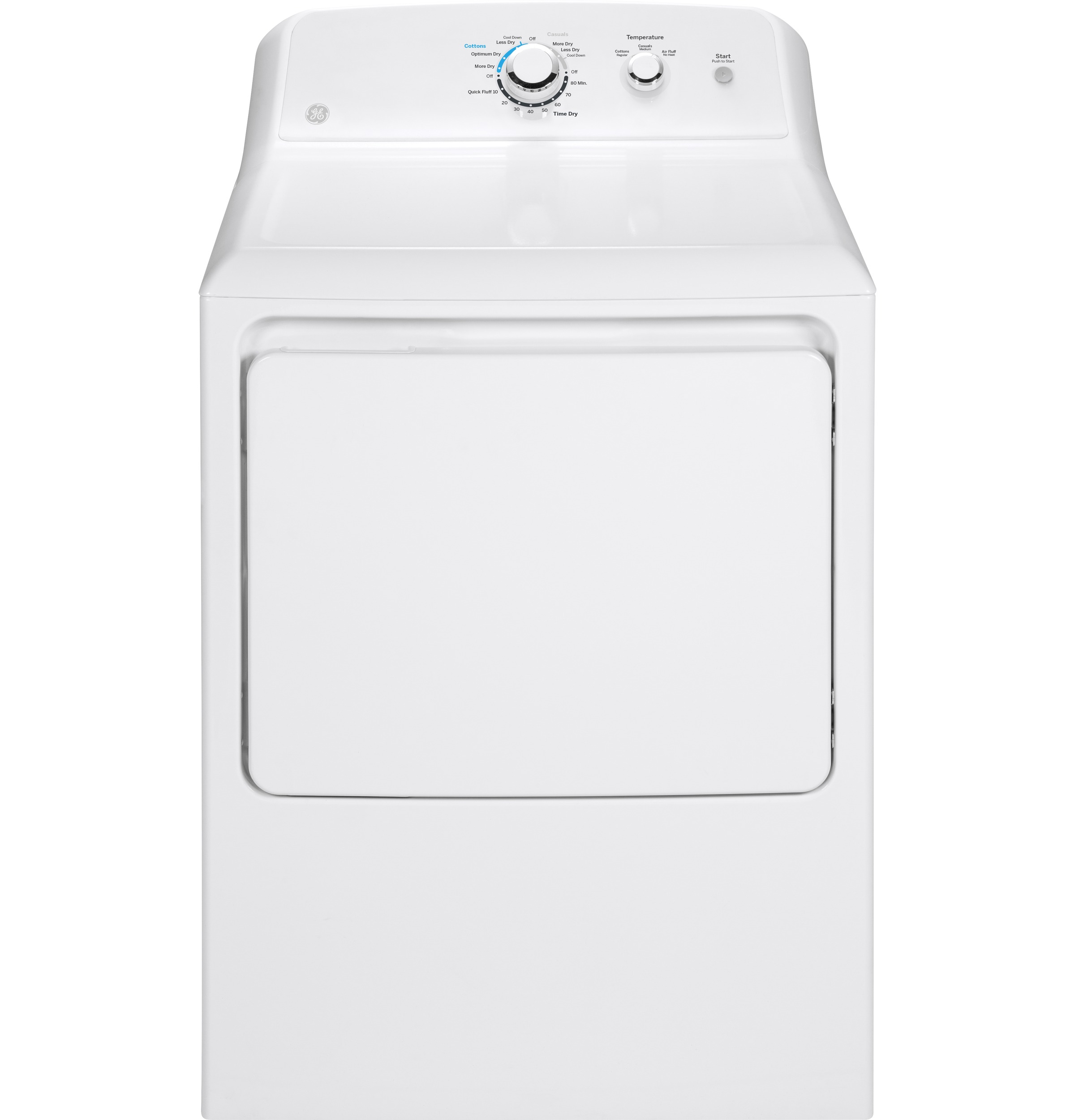 Model: GTD33EASKWW | GE® 7.2 cu. ft. Capacity aluminized alloy drum Electric Dryer