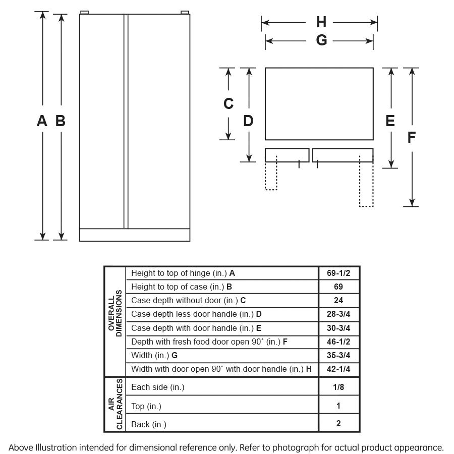 Model: GZS22IBNTS   GE GE® 21.8 Cu. Ft. Counter-Depth Side-By-Side Refrigerator
