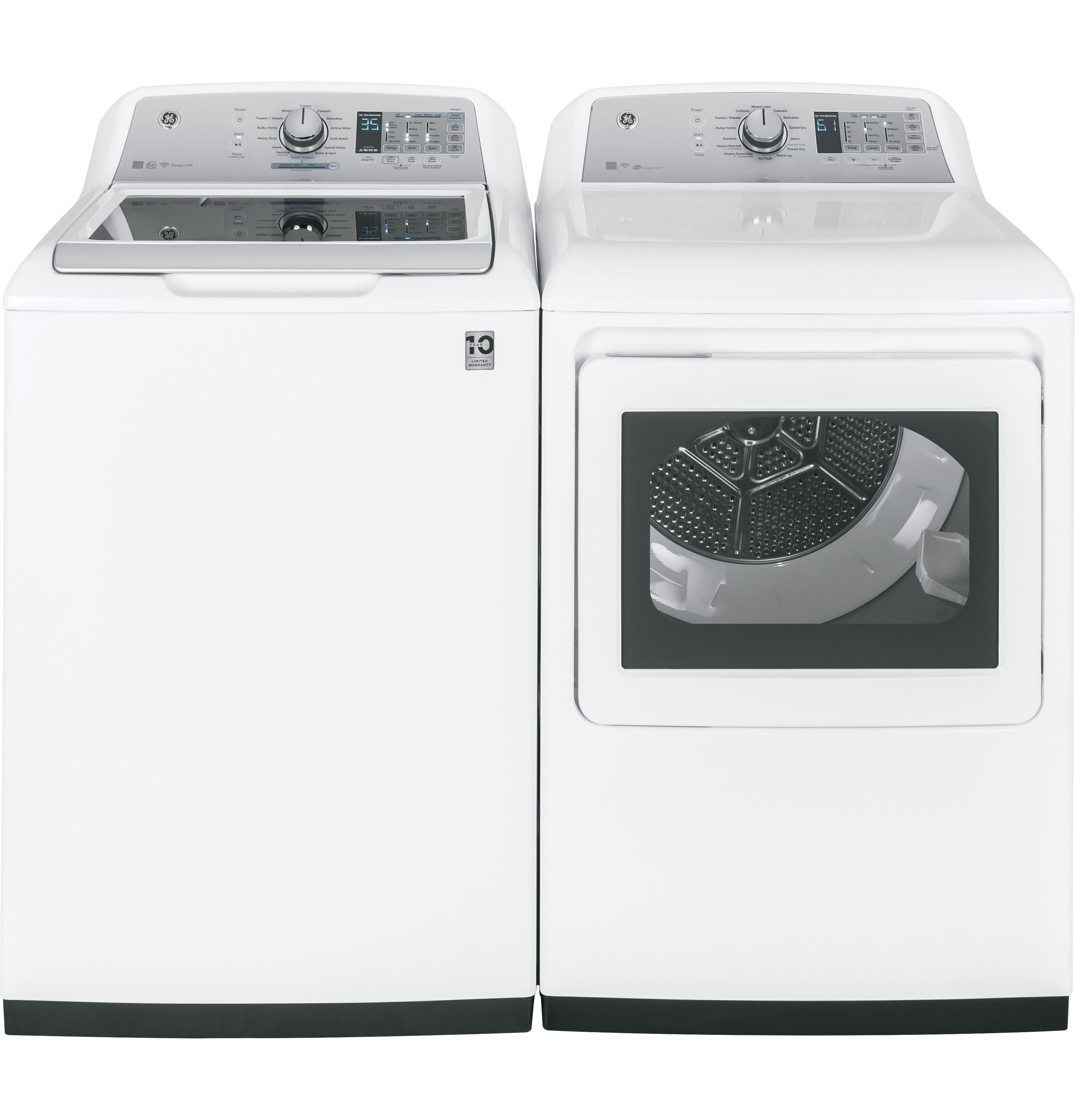 Model: GTD75ECSLWS   GE® 7.4 cu. ft. Capacity aluminized alloy drum Electric Dryer with HE Sensor Dry