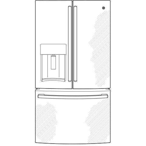 Model: GYE22HBLTS | GE® ENERGY STAR® 22.2 Cu. Ft. Counter-Depth French-Door Refrigerator
