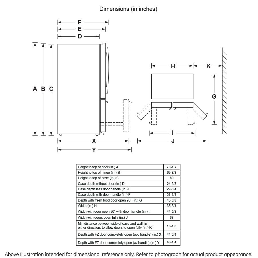Model: GYE22HSKSS | GE® ENERGY STAR® 22.2 Cu. Ft. Counter-Depth French-Door Refrigerator