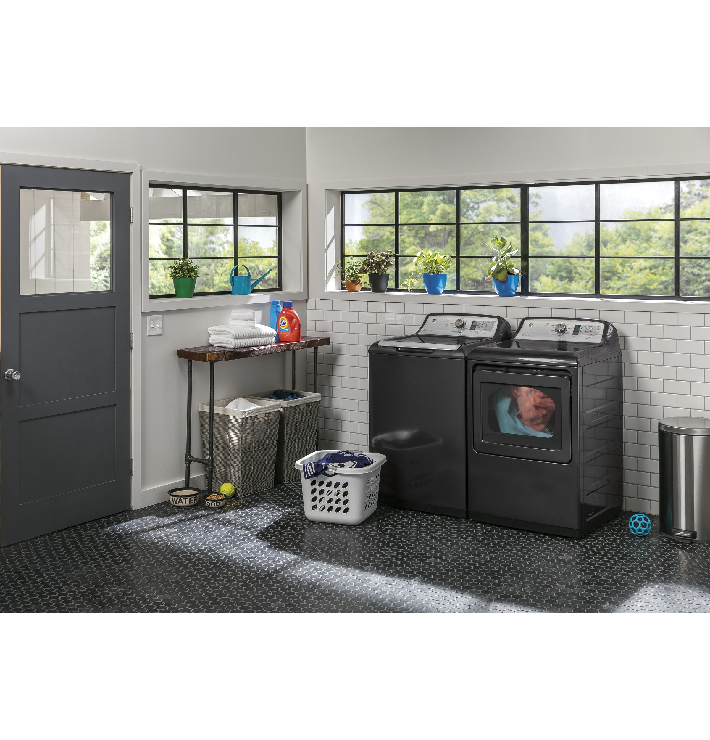 Model: GTW755CPMDG | GE® 4.9  cu. ft. Capacity  Washer with Stainless Steel Basket