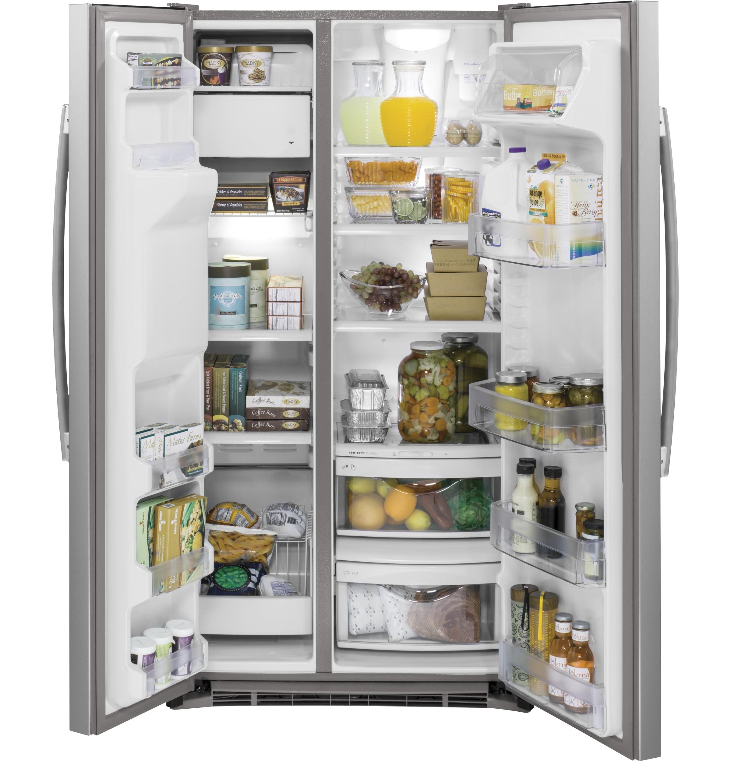Model: GZS22DSJSS | GE® 21.9 Cu. Ft. Counter-Depth Side-By-Side Refrigerator