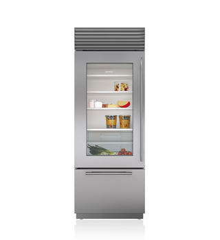 "Sub-Zero 30"" Classic Over-and-Under Refrigerator/Freezer with Glass Door"