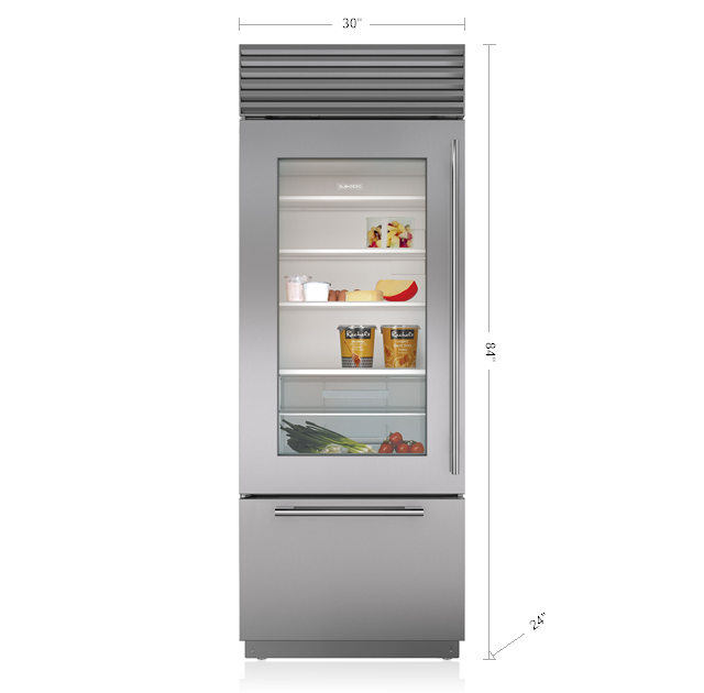 "Model: BI-30UA/S/PH-LH | Sub-Zero 30"" Classic Over-and-Under Refrigerator/Freezer with Glass Door"