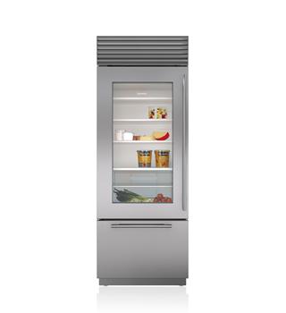 "Sub-Zero 30"" Classic Over-and-Under Refrigerator/Freezer with Glass Door"