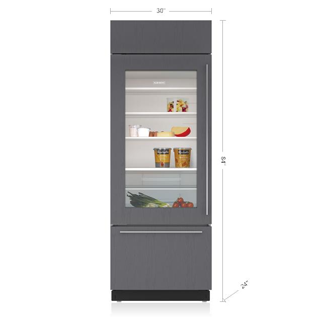 "Model: BI-30UA/O-LH | Sub-Zero 30"" Classic Over-and-Under Refrigerator/Freezer with Glass Door - Panel Ready"