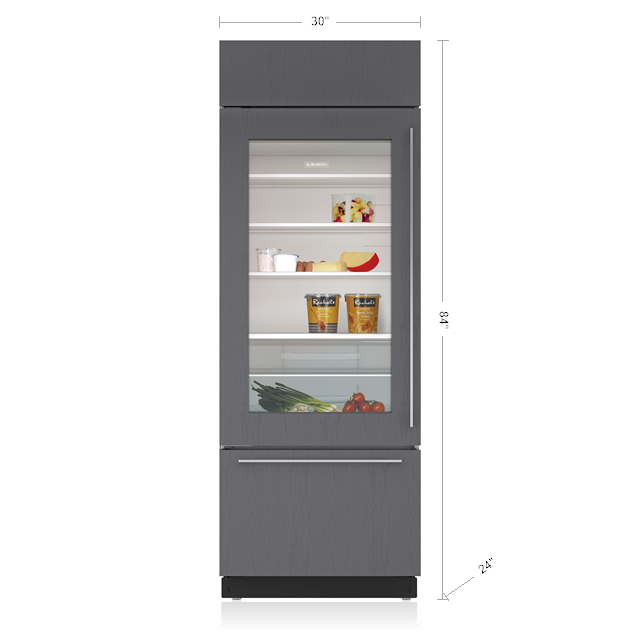 "Model: BI-30UA/O-RH   Sub-Zero 30"" Classic Over-and-Under Refrigerator/Freezer with Glass Door - Panel Ready"