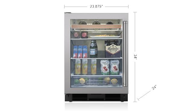 "Model: UC-24BG/S/PH-LH   Sub-Zero Legacy Model - 24"" Undercounter Beverage Center - Stainless Door"