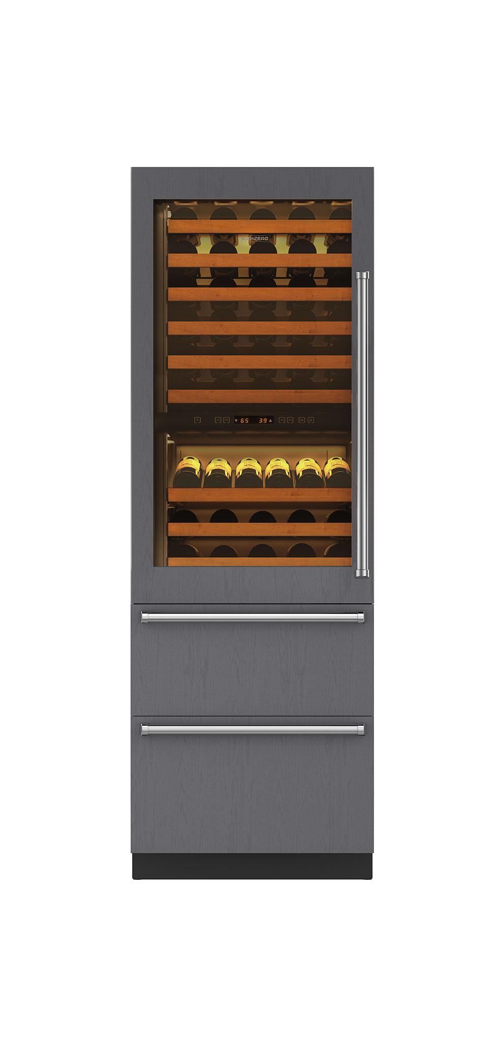 "Sub-Zero 27"" Integrated Wine Storage with Refrigerator Drawers - Panel Ready"