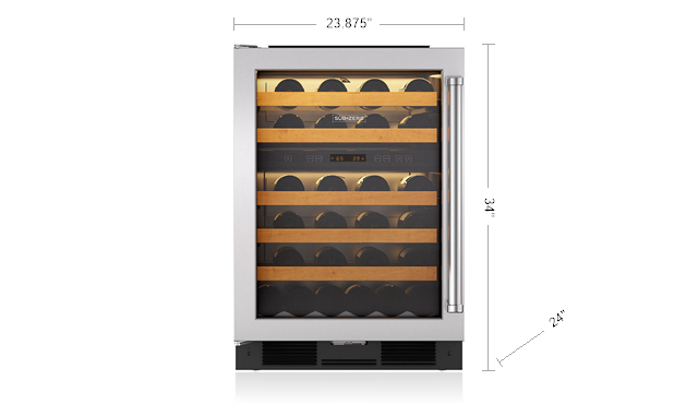 "Model: 424HAG/S/PH-RH | Sub-Zero 24"" Undercounter Wine Storage"