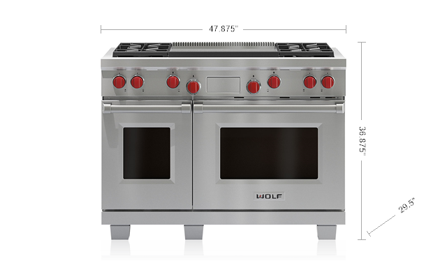 "Model: DF484DG | Wolf 48"" Dual Fuel Range - 4 Burners and Infrared Dual Griddle"