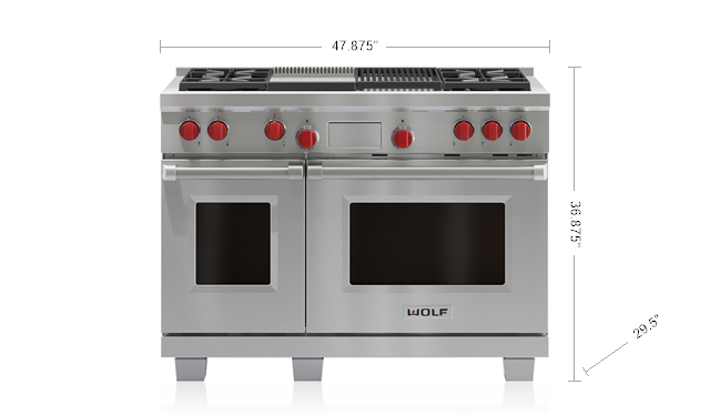 "Model: DF484CG-LP | Wolf 48"" Dual Fuel Range - 4 Burners, Infrared Charbroiler and Infrared Griddle"