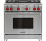 """Wolf 36"""" Gas Range - 4 Burners and Infrared Charbroiler"""