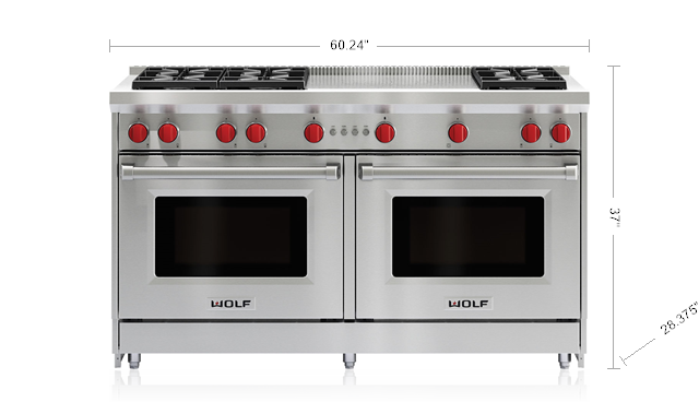 "Model: GR606F | Wolf 60"" Gas Range - 6 Burners and French Top"