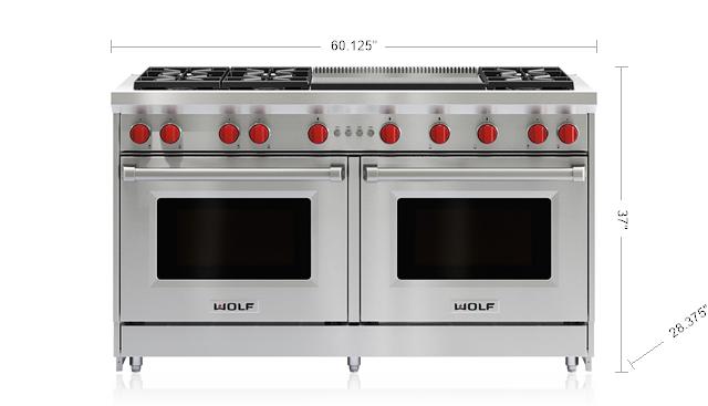 "Model: GR606DG | Wolf 60"" Gas Range - 6 Burners and Infrared Dual Griddle"